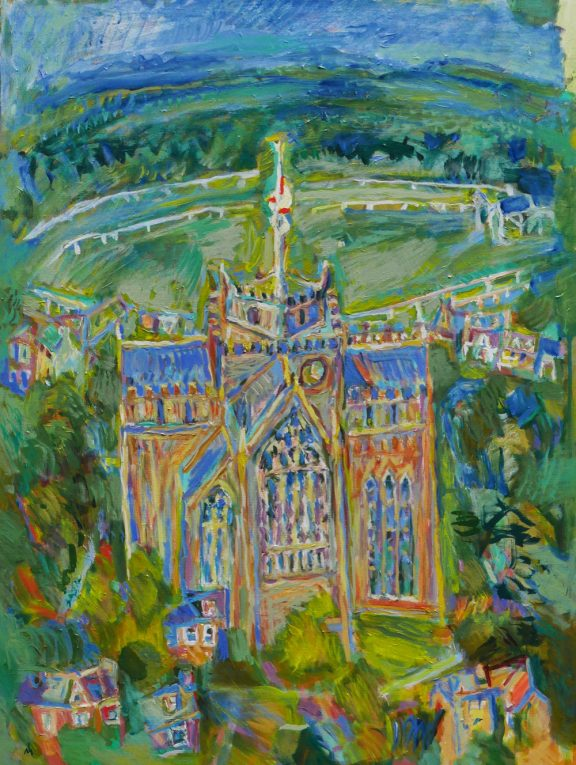 Cartmel Priory and racecourse. Acrylic on canvas.
